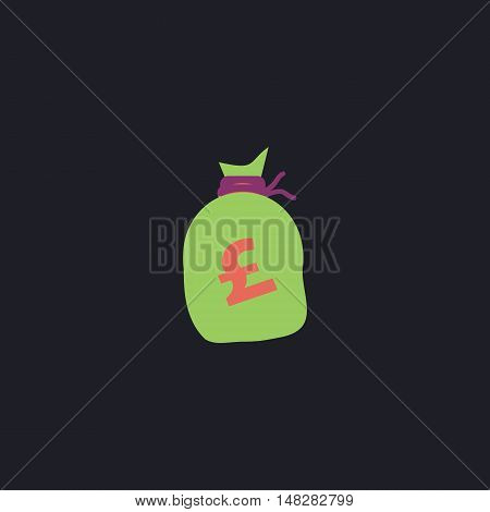Pound GBP bag Color vector icon on dark background