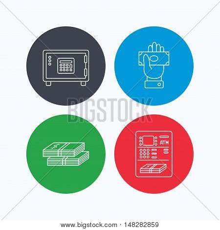 Give money, cash money and ATM icons. Safe box linear sign. Linear icons on colored buttons. Flat web symbols. Vector