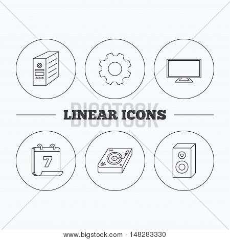 Sound, club music and pc case icons. TV linear sign. Flat cogwheel and calendar symbols. Linear icons in circle buttons. Vector