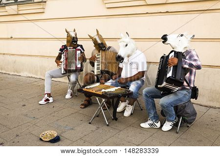 VIENNA, AUSTRIA - September 4, 2016: Buskers performing in a public place for gratuities in central Vienna Austria