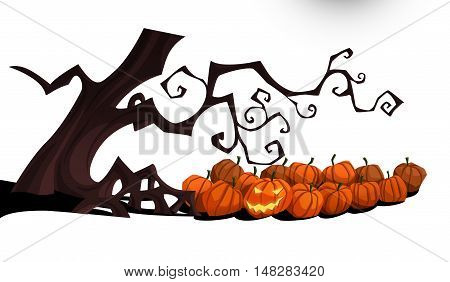 Happy Halloween isolated on white background at nighttime