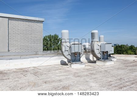 on an building there is an ventilation on the roof