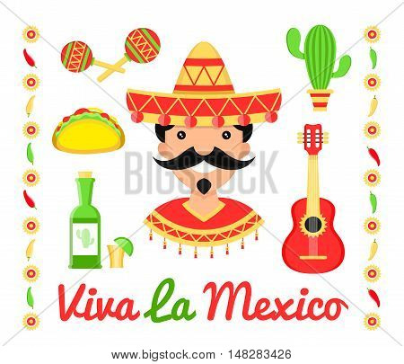 Viva la mexico illustration flat icon design. Isolated on white background