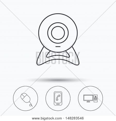 Computer, web camera and mobile phone icons. PC case linear sign. Linear icons in circle buttons. Flat web symbols. Vector