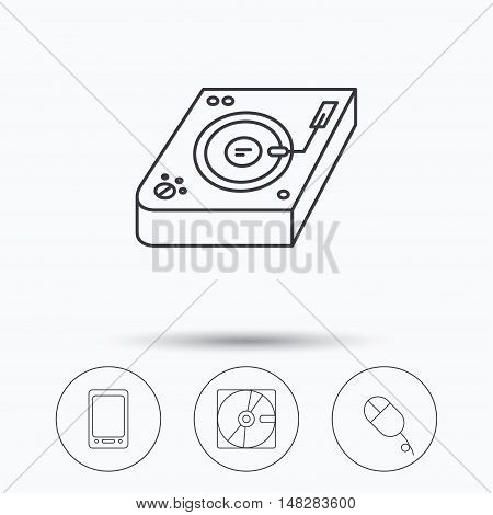Tablet PC, Hard disk and pc mouse icons. Club music linear sign. Linear icons in circle buttons. Flat web symbols. Vector