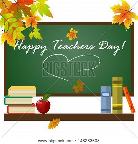School supplies on blackboard background with inscription Teacher Day. Celebration student design text teachers day concept. Holiday card teachers day education happy background.