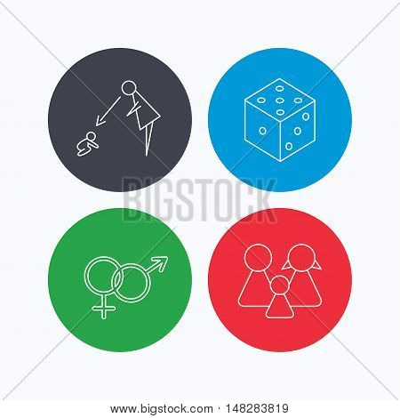 Male, female, dice and family icons. Under supervision linear sign. Linear icons on colored buttons. Flat web symbols. Vector