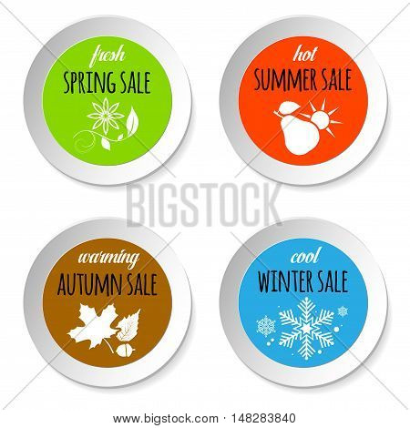 Set of circle paper badges with four season sale nature abstract icons - isolated on white background. Vector illustration.
