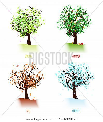 Set of abstract trees in four season - isolated on white background. Vector illustration.