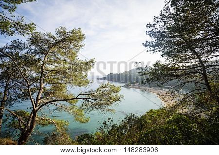 Overview of Santa Cristina beach in Lloret de Mar in Costa Brava, Catalonia, Spain