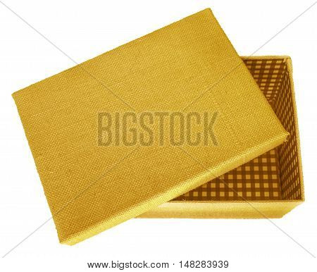 Opened yellow box wrapped by burlap canvas isolated on a white background. Clipping path included.