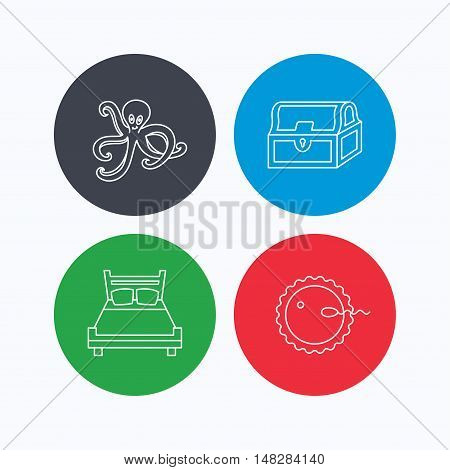 Fertilization, double bed and octopus icons. Treasure chest linear signs. Linear icons on colored buttons. Flat web symbols. Vector