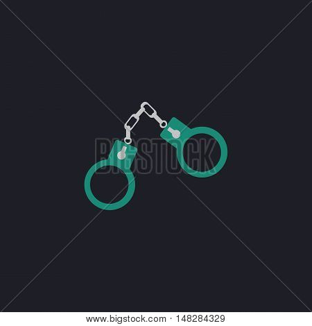 Handcuffs Color vector icon on dark background