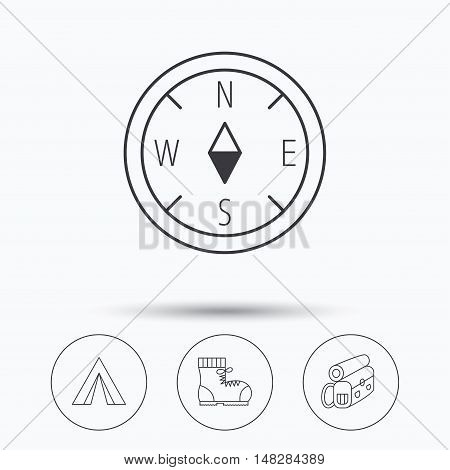 Backpack, camping tent and compass icons. Boots linear sign. Linear icons in circle buttons. Flat web symbols. Vector