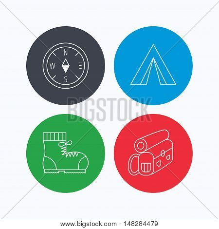 Compass, camping tent and hiking boots icons. Backpack linear sign. Linear icons on colored buttons. Flat web symbols. Vector