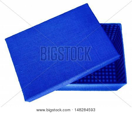 Opened dark blue box wrapped by burlap canvas isolated on a white background. Clipping path included.
