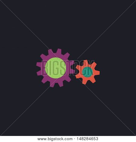 Cog wheel  Color vector icon on dark background