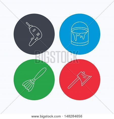 Drill tool, bucket of paint and axe icons. Brush linear sign. Linear icons on colored buttons. Flat web symbols. Vector