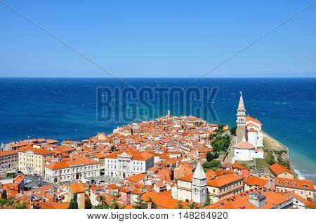 View of Piran town in Istria, Slovenia.