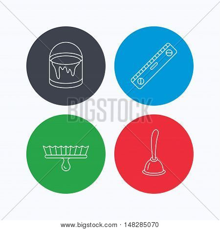 Level tool, plunger and brush tool icons. Bucket of paint linear sign. Linear icons on colored buttons. Flat web symbols. Vector