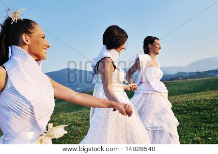 group of bride run on meadow at sunset after wedding party
