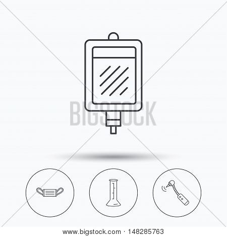 Medical mask, blood and drilling tool icons. Beaker linear sign. Linear icons in circle buttons. Flat web symbols. Vector