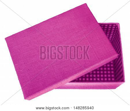 Opened pink box wrapped by burlap canvas isolated on a white background. Clipping path included.