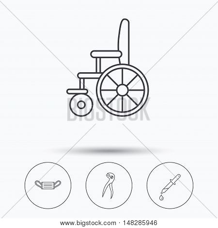 Medical mask, pipette and dental pliers icons. Wheelchair linear sign. Linear icons in circle buttons. Flat web symbols. Vector