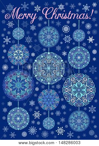 Merry Christmas Card with Snowflakes on dark blue background. Mandala decorative xmas balls and beads. Vector snow greeting. Luxury design elements. Snowfall poster print. Weave seasonal illustration.