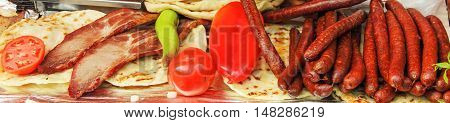 Meat products red pepper  tomato and sosage