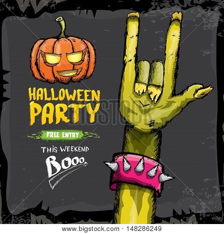 Halloween vector illustration with rock n roll zombie hand and halloween objects. vector halloween party creative concept invitation or poster. halloween cartoon banner.