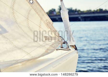 Staysail's carbine hooks on yacht before VIRA sails