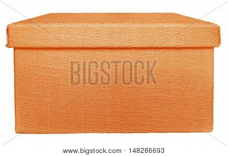Closed orange box wrapped by burlap canvas isolated on a white background. Clipping path included.