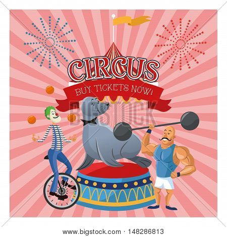 Clown man and seal cartoon icon. Circus carnival and festival theme. Colorful  design. Vector illustration