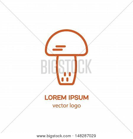 Line style logotype with mushroom. Isolated on white background and easy to use. Clean and minimalist symbol. Modern easy to edit logo template.