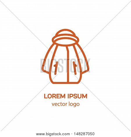Line style logotype with jacket. Isolated on white background and easy to use. Clean and minimalist symbol. Modern easy to edit logo template.