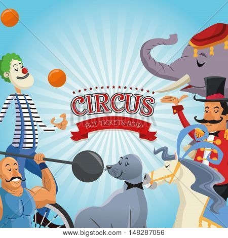Elephant seal horse clown presenter and man cartoon icon. Circus carnival and festival theme. Colorful  design. Vector illustration