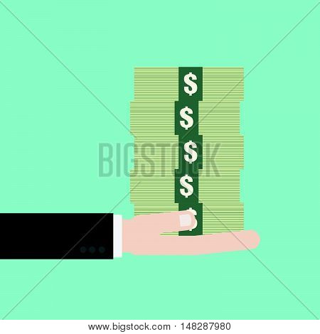Businessman Hand Holding The Stack Of Money