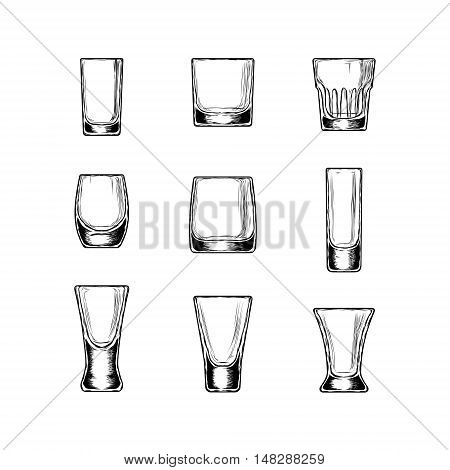 Set of vector illustration of stemware. Glasses for alcohol