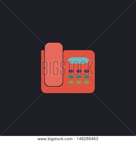 Office Phone Color vector icon on dark background
