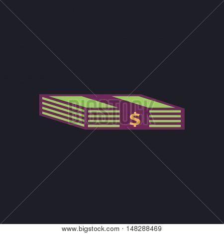 Bundle of Dollars Color vector icon on dark background