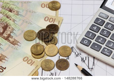 calculator coins and banknotes. Dow Jones index. currency rates on Forex