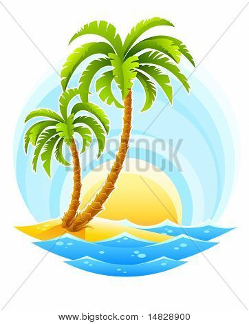 Tropical Palm With Sea Wave On Sunny Background