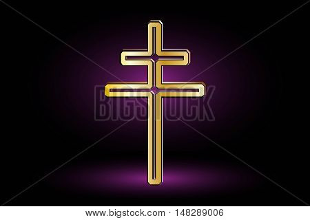 cross on a purple background ,double religious cross, Christian double cross