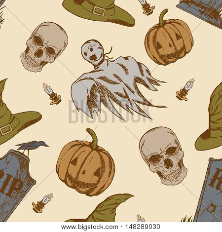 Seamless pattern with hand drawn halloween doodles. Childish tiling background with cartoon spooky ghosts, skulls and pumpkins.