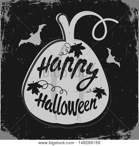 Happy Halloween message design background. Vector illustration. This illustration can be used as a greeting invitation poster print on t-shirt or bag. pumpkin grey and black