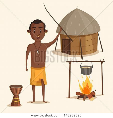 Indigenous south american or african male. Aborigine with earrings and nose shackle with wood stick near urn and kettle with stew on fire in front of hut.Ideal for history lessons or book illustration