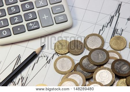 calculator pencil and coins. Dow Jones index. currency rates on Forex
