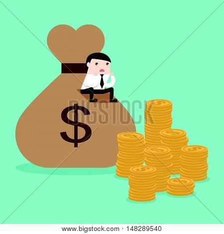 Businessman With Stack Of Money