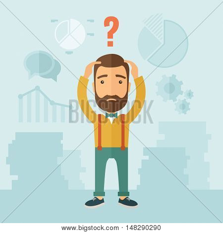 The man with a beard with lots of plans is confused and put hands on the head. The concept of confusion.  flat design illustration.